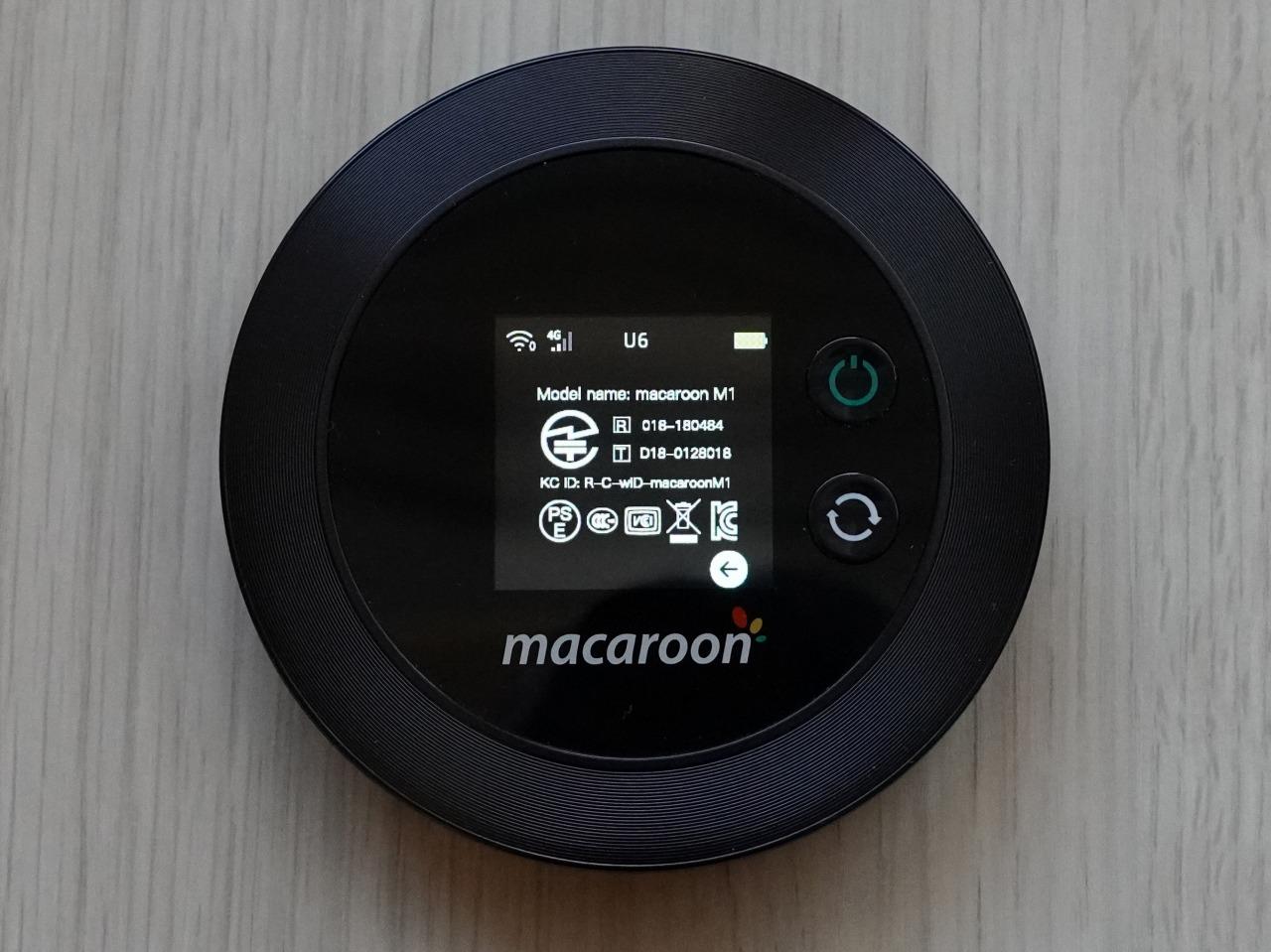 Macaroon M1 の認証画面